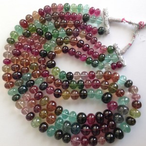 MULTI TOURMALINE PLAIN BEADS